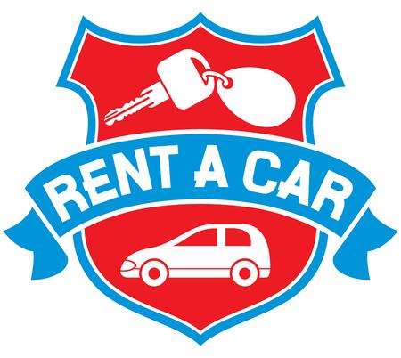 car rental: rent a car symbol rent a car label Illustration