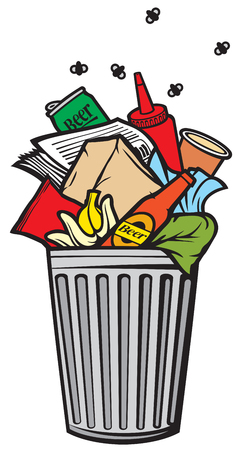 wastepaper basket: full rubbish bin garbage can Illustration