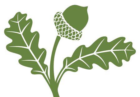 acorn tree: acorn with leaf Illustration
