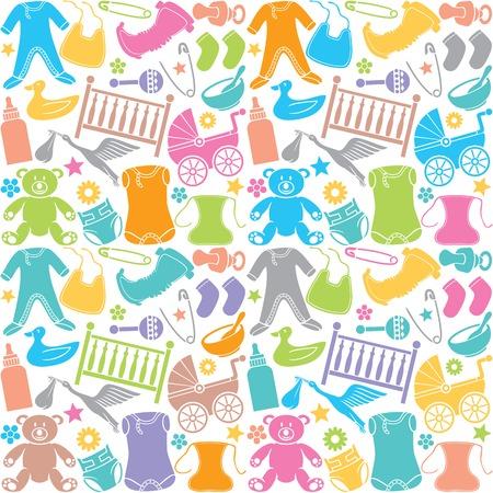 Nahtlose Muster mit Baby icons nahtlose Muster mit Baby-Elemente Standard-Bild - 46728346