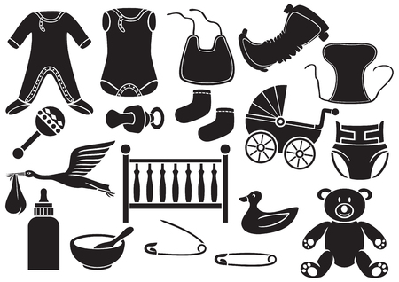 coverall: baby icons set baby absorbent diaper, baby clothes, baby bib, stork carrying a baby in its beak, childrens bed, rattles, safety pin, teddy bear, socks, baby bottle, baby carriage Illustration