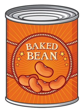 tin of baked beans can of baked beans 일러스트