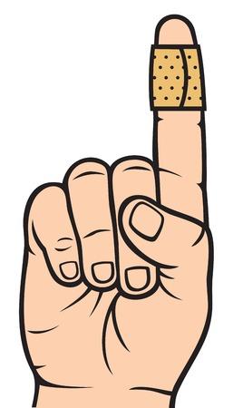 粘着性の包帯で指