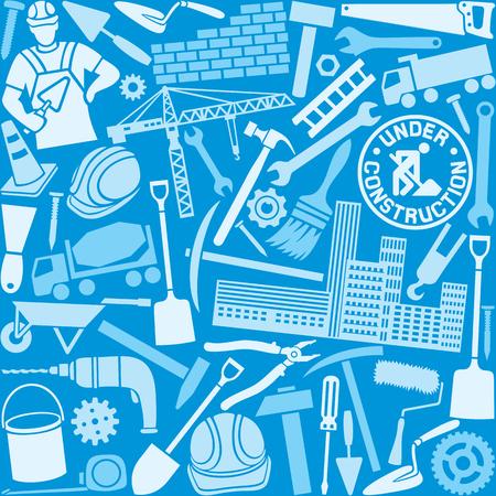 warning saw: construction icons seamless pattern Illustration