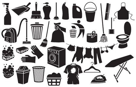 clothes: cleaning icons bucket, plunger, soap with foam, dustpan, hand holding trash bag, washing machine, broom, recycling sign, clothes hanging on a clothesline, trash bin, vacuum cleaner, detergent Illustration