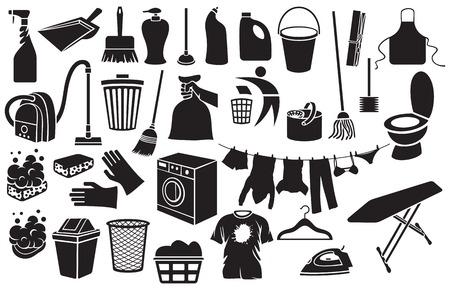 ropa colgada: Iconos de limpieza cubo, émbolo, jabón con espuma, recogedor, bolsa de basura de la mano, lavadora, escoba, signo de reciclaje, ropa colgada en un tendedero, cubo de la basura, aspirador, detergente