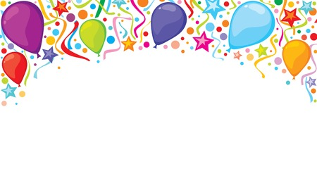 party streamers: background design with party streamers, balloons and confetti festive design, celebration background
