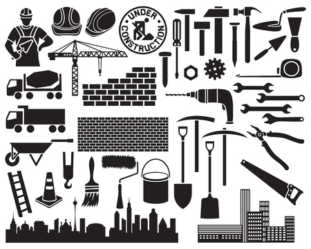 construction icon set wheelbarrow, hammer, nail, construction mason worker with brick and trowel, shovel, traffic cone, hard hat, cranes, silhouette of the city, brick wall
