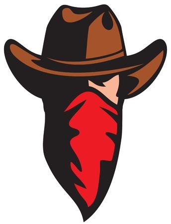 vaquero: vaquero americano con la mascota del vaquero bandana con la bufanda Vectores