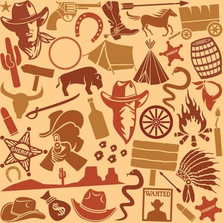 west: wild west icons set seamless background