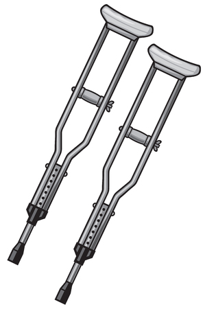 geriatrics: two metal crutches Illustration