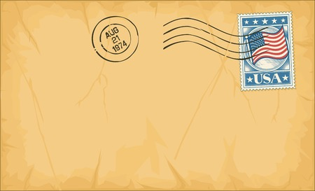 pasted: old postage envelope with stamp and rubber stamp