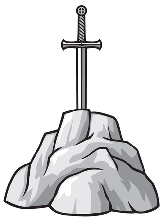 stone age: king arthurs sword excalibur in the stone excalibur sword in the stone, king arthurs sword in rock Illustration