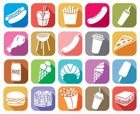 fried: Fast food flat icons set hamburger, pizza, hot dog, juice, Chinese fast food, fried chicken legs, barbecue grill, sausage, ice cream, pancake, popcorn, coffee, french fries, sandwich, croissant Illustration