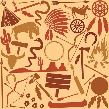 wild west icons set seamless background