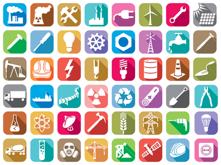 nuclear plant: industry flat icons set wrench, solar panels, screw, screwdriver, lightning, nuclear power plant, atom, hard hat, drill, pipeline, wind turbine, hammer, water tap, power plug, crane, gas mask Illustration