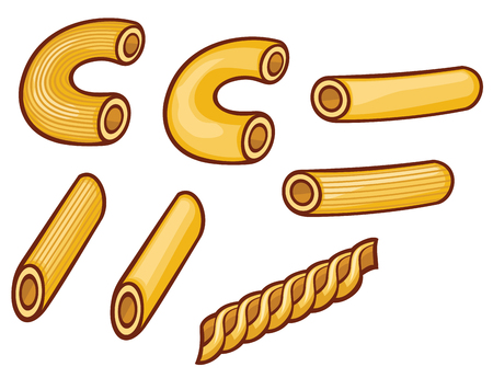 elbows: macaroni pasta collection Illustration