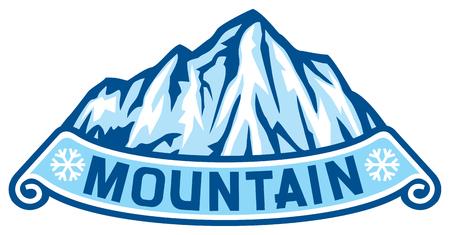 montagna: Etichetta paesaggio montano catena montuosa innevata Vettoriali