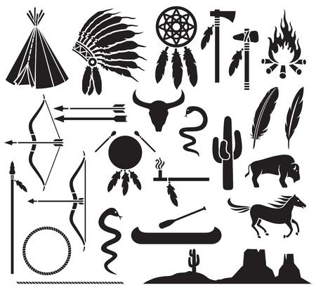 indio americano: los indios americanos nativos iconos establecen arco y flecha, serpiente, caballo, bisonte, cactus, hacha de guerra, hacha, fogata, paisaje, tienda india, tocado jefe indio, canoa, pipa de la paz, cazador de sue�os