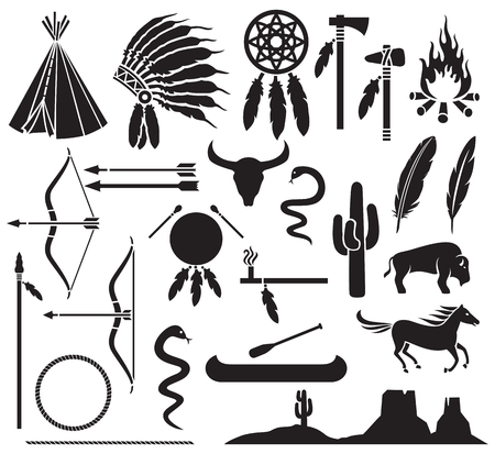 american history: native american indians icons set bow and arrow, snake, horse, bison, cactus, tomahawk, axe, campfire, landscape, wigwam, indian chief headdress, canoe, peace pipe, dream catcher