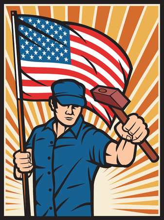 industry poster: worker holding a USA flag and hammer - industry poster United States of America flag poster design, industry design, construction worker, poster for labor day