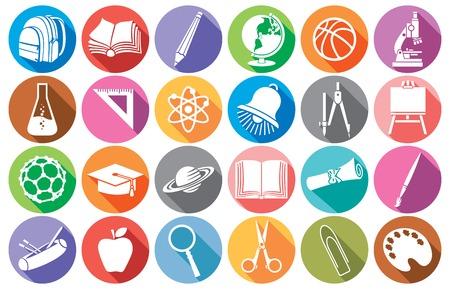 colegio: educación y de la escuela plana escuela iconos diploma colección, caja de lápices, compases de la escuela, la campana, el libro, la bolsa de paquete, globo, pincel, lápiz, ábaco, la junta escolar, casquillo de la graduación, microscopio, regla