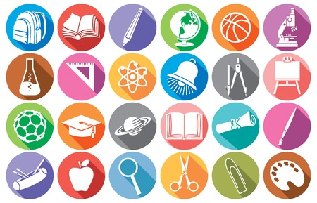 vzdělávání a školní plochý školy ikony sbírka diplomu, penál, školní kompasy, zvonek, kniha, pytel balení, zeměkoule, štětec, tužka, Abacus, školní rada, promoce čepice, mikroskop, pravítko Ilustrace