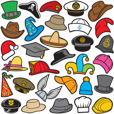 different types of hat pattern sailor cap, military beret, firefighter helmet, sombrero, cowboy hat, baseball cap, military hat, cowboy hat, santa claus hat, wizard hat, chef hat