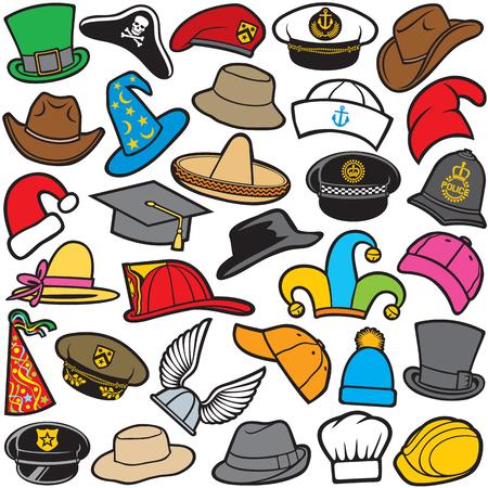 hut: verschiedene Arten von Hutmuster Matrosenmütze, Militärbarett, Feuerwehrhelm, sombrero, Cowboy-Hut, Baseballmütze, Militär, Cowboyhut, Weihnachtsmann-Hut, Assistenten Hut, Kochmütze Illustration