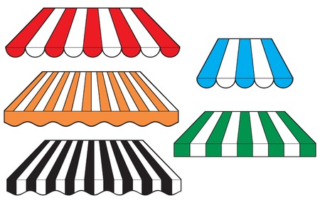 awnings: set of striped awnings Illustration