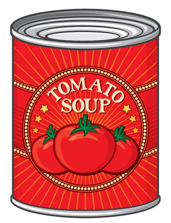 tomatoes: can of tomato soup tin of tomato soup