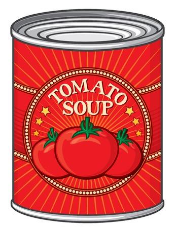 canette de soupe à la tomate boîte de soupe à la tomate Illustration