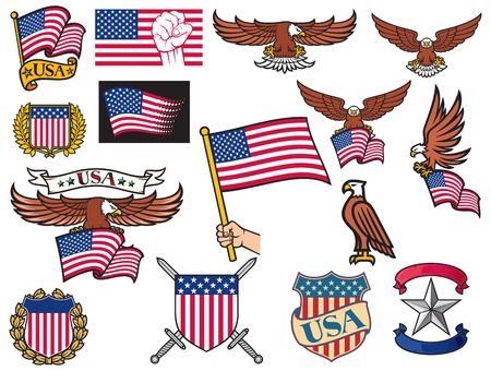 eagle badge: United States of America symbols american flying eagle holding USA flag, hand holding USA flag, USA coat of arms design, shield and laurel wreath, USA icons