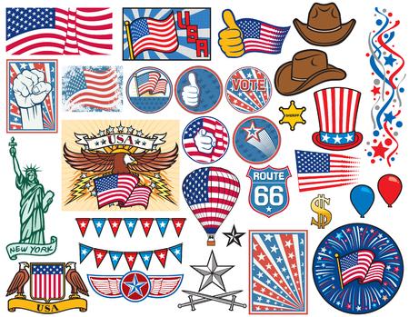 cappelli: USA icone set Stati Uniti d'America, bandiera disegno, cappello a cilindro, sceriffo stella, Statua della Libertà, pugno, pollici in su, mongolfiera, fuoco d'artificio, il simbolo del dollaro, coriandoli, cappello da cowboy, pulsanti elettorali