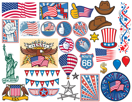 usa: USA icons set United States of America flag design, top hat, sheriff star, Statue of Liberty, fist, thumbs up, hot air balloon, firework, dollar sign, confetti, cowboy hat, election buttons