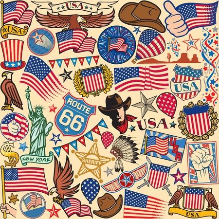 western usa: USA background United States of America symbols design, USA icons background