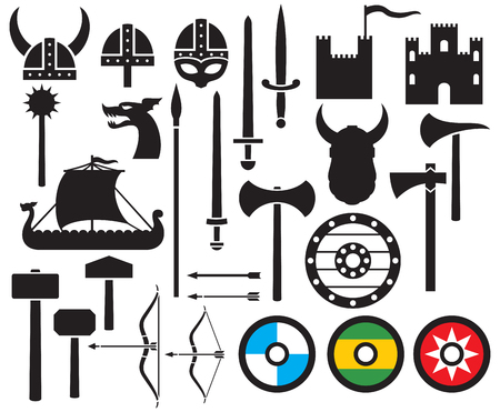 ancient ships: viking icons collection sword, round wooden shield, long ship, viking head horned helmet, mace, hammer, arrow, bow, axe, tower, old castle
