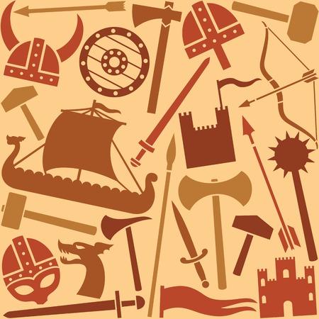 vikingo: iconos de vikingo sin patr�n Vectores