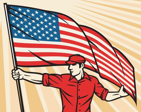 patriots: Worker holding a USA flag United States of America flag poster design Illustration
