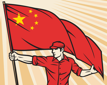 worker holding a china flag china flag poster design Illustration