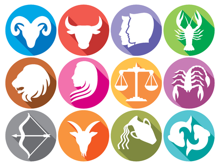 zodiac signs flat buttons zodiac sign silhouettes, stylized icons of zodiac signs, set of horoscope symbols, astrology symbols set Illustration