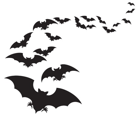 flock of bats set of bats flying Illustration