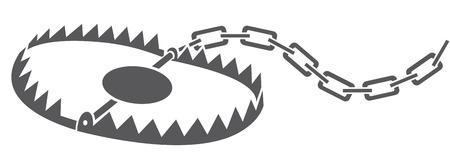 metal animal trap bear trap, hunting trap Stock Illustratie
