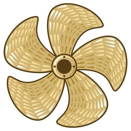 dinghy: brass ship propeller five-bladed boat propeller