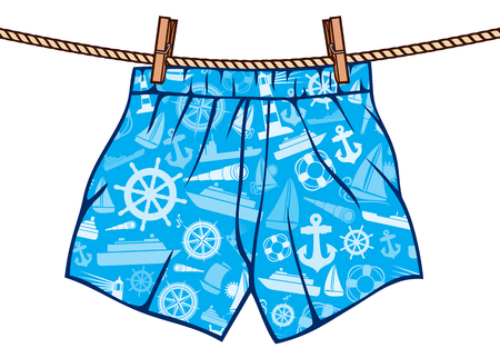 boxer shorts hanging on rope man underwear on clothesline Vettoriali