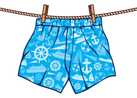 slip homme: Boxer suspendus sur la corde à linge sur les sous-vêtements homme