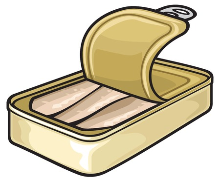 processed food: fish can sardine tin, opened tin can
