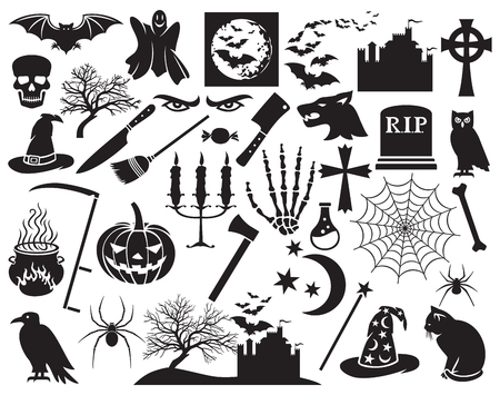 horror: Halloween icons set vector horror icons