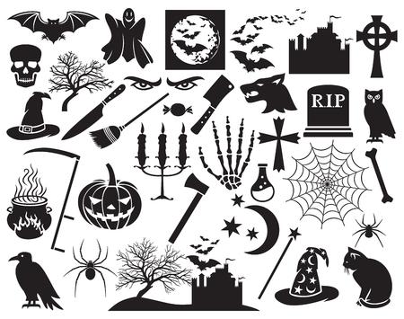 Halloween icons set vector horror icons