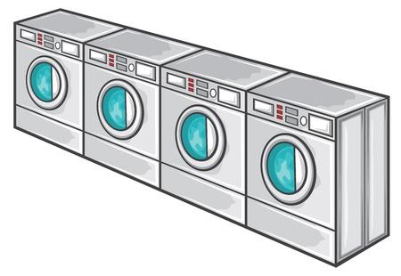 laundromat: line of industrial laundry machines rows of washing machines, laundromat machine washer line Illustration